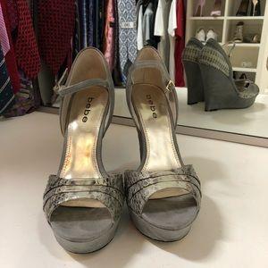 Grey Suede & Snake Platform Sandals 7.5